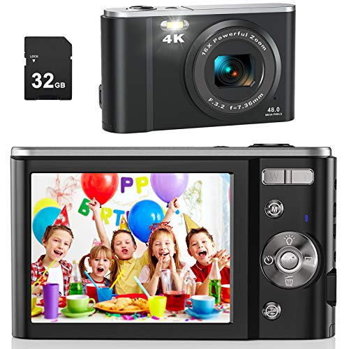 AiTechny 4K Digital Camera Vlogging Camcorder 48MP Compact Camera with 32GB SD Card, 16X Digital Zoom, Rechargeable Mini Camera for Kids Adult Beginners Birthday Gifts, Black