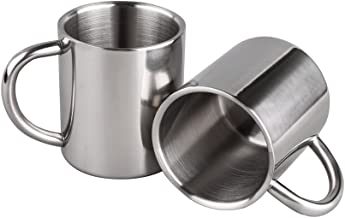 IMEEA 7.8Oz (220ml) Brushed Stainless Steel Double Wall Mugs Tea Cups Drinking Cups for Kids, Set of 2