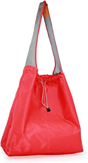 PATENT PENDING : EcoJeannie 2 Pack Large Super Strong Ripstop Nylon Foldable Reusable Shopping Bag, Travel Bag, Beach Bag, Grocery Tote w/Pouch & Inner Pocket, Draw-String, Reinforced Handle, NRS022