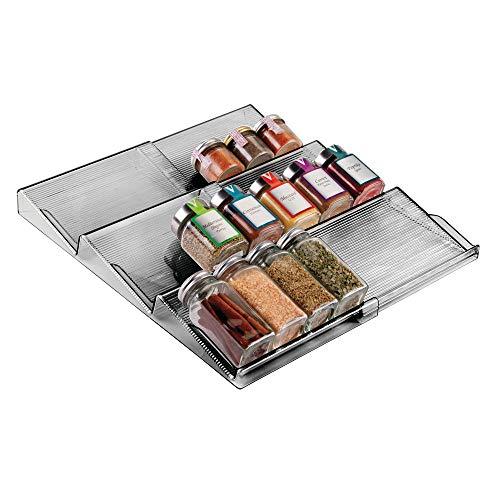 mDesign - Kruidenrek - lade-organizer - voor keuken, badkamer en kantoor - voor kruiden en specerijen - uitschuifbaar/3 etages - rookgrijze tint