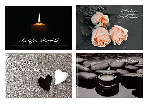 Merz Designkarten 12 Stück (4x3) einfühlsame Premium-Trauerkarten/Beileidskarten im Set mit 12 Briefkuverts - Anteilnahme Trauerkarte, Spruch