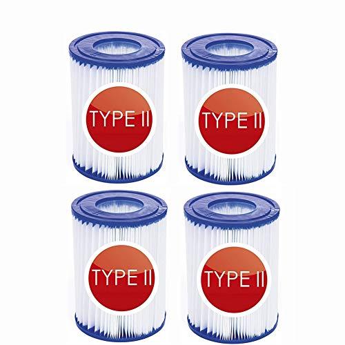 NJYBF Filterpatronen für Pool, für Bestway II Filter Größe 2, Spa Ersatz Aufblasbarer Poolreinigungsfilter Zubehör, Filterkartuschen Kartuschenfilter Papier. (4 PCS)