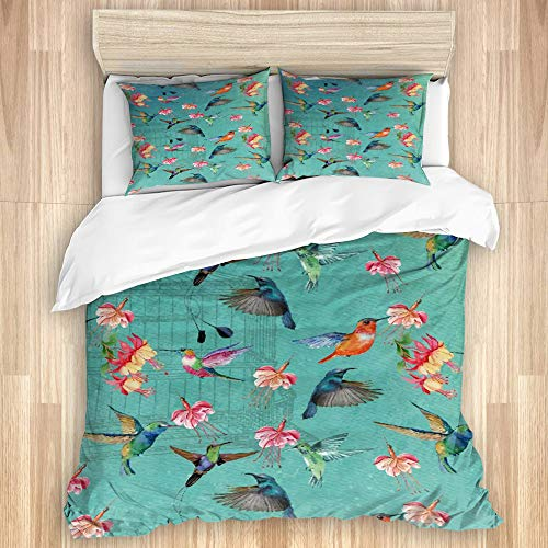 NINEHASA 3 Pieces Duvet Cover Set birds,flowers and bird cage Printed Bedding Duvet Cover with Zipper Closure Soft Microfiber Quilt Cover King Size-230 * 220cm