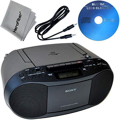 Sony CD Player Portable Boombox with AM/FM Radio & Cassette Tape Player + Xtech Aux Cable, Xtech CD Maintenance Kit & HeroFiber Ultra Gentle Cleaning Cloth for Sony Player