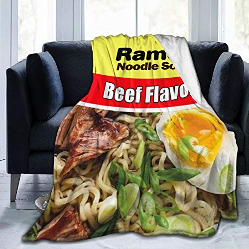 SIENNAWEBB Luxury Comfort Warm Fluffy Plush Hypoallergenic Blanket Ramen Noodle Soup Beef Flavor 6 Flavors for Bed Sofa Chair Autumn Winter Living Room (Beef Flavor, Small 50