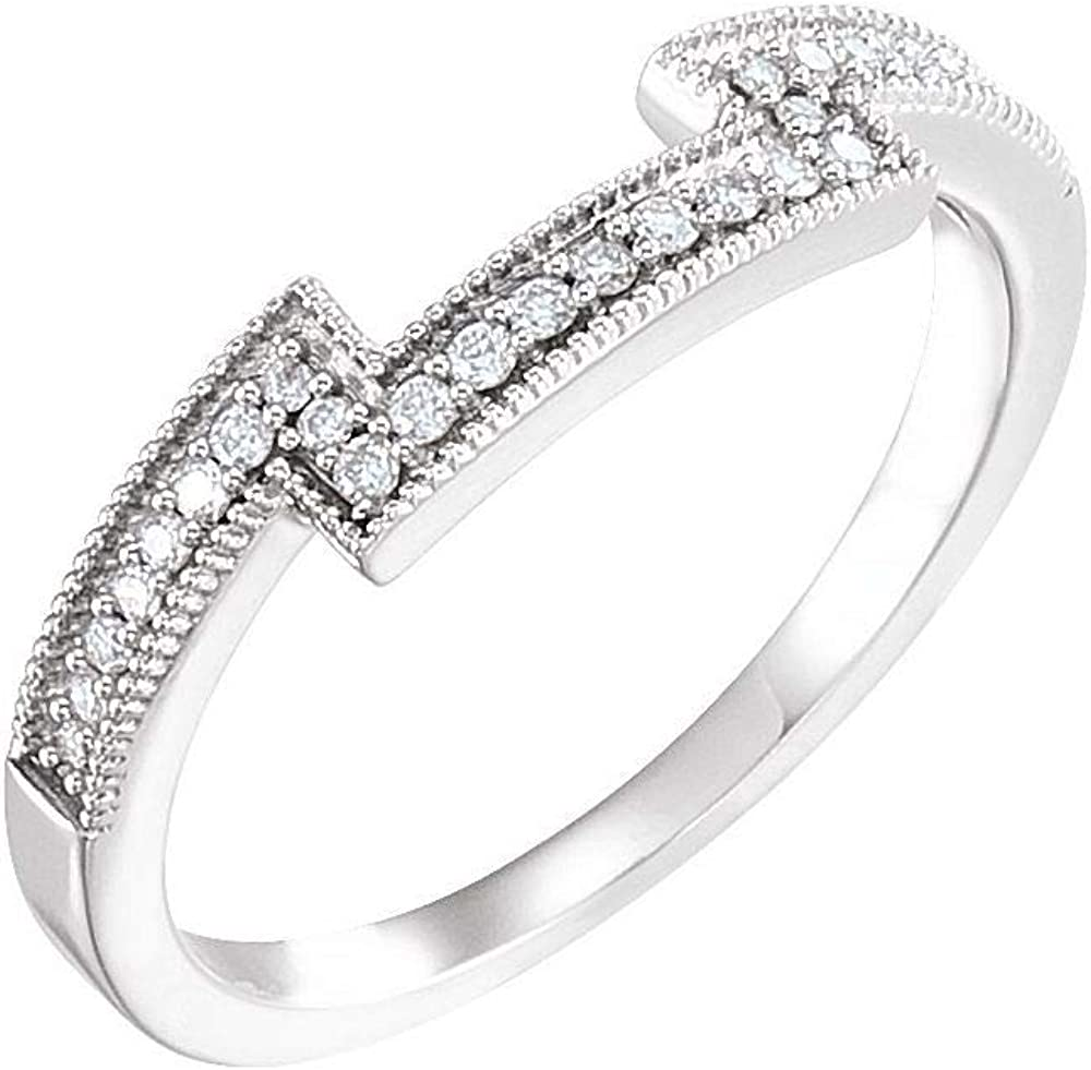 Solid 14k White Gold 1/8 Cttw Diamond Curved Notched Wedding Band for 5.5mm Square Ring Guard Enhancer - Size 7 (.13 Cttw)