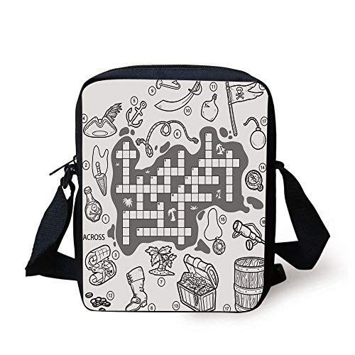 Word Search Puzzle,Colorless Pirates Themed Educational Puzzle Treasure Map and Icons,Grey Black White Print Kids Crossbody Messenger Bag Purse