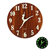 12' Night Light Function Vintage Wooden Wall Clock,Rustic Dance Wall Clock for Kitchen Bedroom Office,Silent & Non-Ticking Large Decorative Clocks,Battery Operated(401)