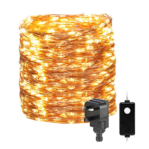 30M/98ft Fairy Lights Mains Powered,OxyLED 300 LED 8 Modes Fairy String Lights IP65 Waterproof Outdoor/Indoor Copper String Lights for Patio,Garden,Home,Wedding,Party(Warmwhite)