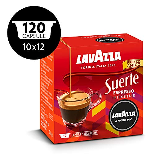 Lavazza A Modo Mio, Capsule Caffè Espresso Suerte, 10 Confezioni da 12 Capsule [120 Capsule]