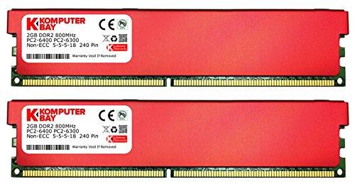 Komputerbay 4GB (2X2GB) DDR2 DIMM (240 Pin) 800MHZ PC2-6400 PC2-6300 Desktop-RAM mit Red Heat Spreader für zusätzliche Kühlung CL 5-5-5-18