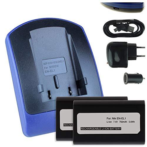 2 Akkus + Ladegerät (Netz+Kfz+USB) für EN-EL1 / Nikon Coolpix 4300 5000 5400 5700 8700. / Konica Minolta Dimage A200 - s. Liste