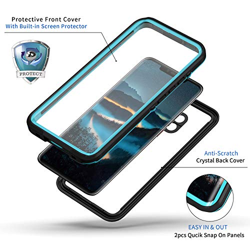 Lanhiem für Huawei Mate 20 Pro Hülle, IP68 Zertifiziert Wasserdicht Handy hülle 360 Grad Schutzhülle, Stoßfest Staubdicht und Schneefest Outdoor Schutz mit Eingebautem Displayschutz - Blau - 5