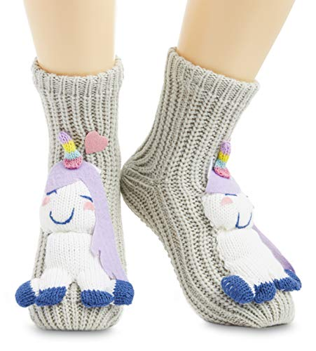 CityComfort Calcetines Antideslizantes Mujer, Zapatillas de Casa Punto Invierno Mullidos de Animales Unicornio Pingüino Gato, Calcetín Gordo Mujer Suave, Regalos Para Mujeres Niñas (Gris)