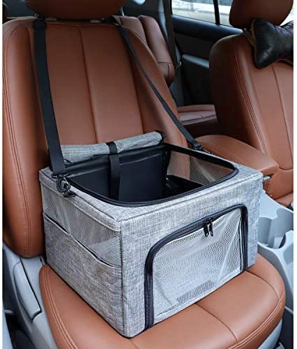 BEELIKE Collapsible Dog Travel Car Seat Top Cover Dog Car Carrier with Reinforce Metal Frame product image
