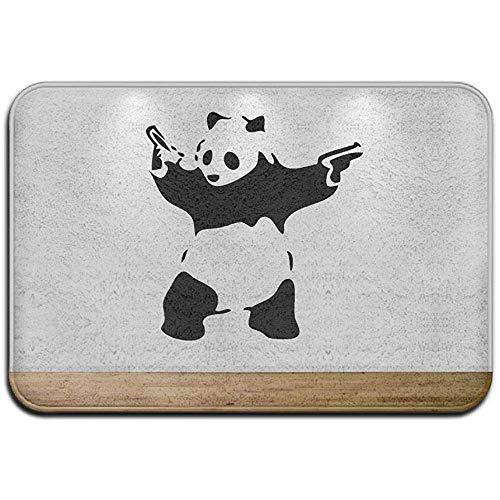 Qinzuisp - Felpudo Panda Guns Banksy, alfombra de baño, garaje, exterior, alfombra, puerta de entrada, alfombra de entrada, alfombra de goma, alfombra estándar para casa, 40 x 60 cm