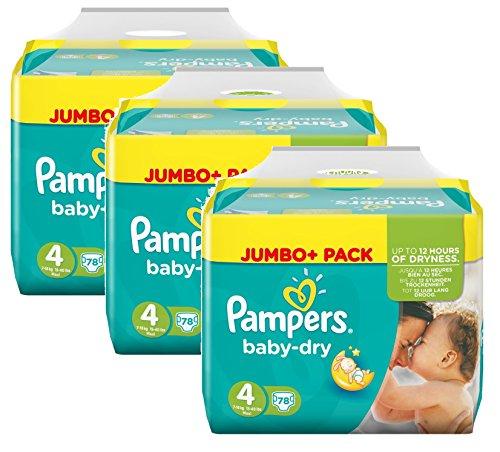 Pampers Baby Dry Größe 4 Maxi 7-18kg Jumbo Plus Pack, 3er Pack (3 x 78 Windeln )