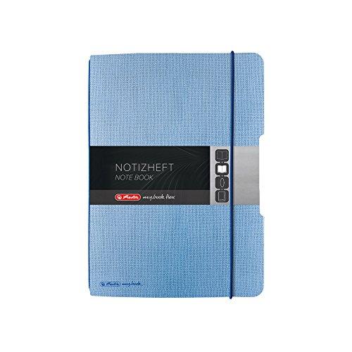 Herlitz 50016433 Notizheft flex Leinen, 40 Blatt kariert, A5 Hellblau