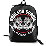 Yaxinduobao Mochila clásica de moda Gracie Jiu Jitsu Academy Logo Backpack Campus School Bag Casual Backpack Gym Travel Hiking Canvas Backpack