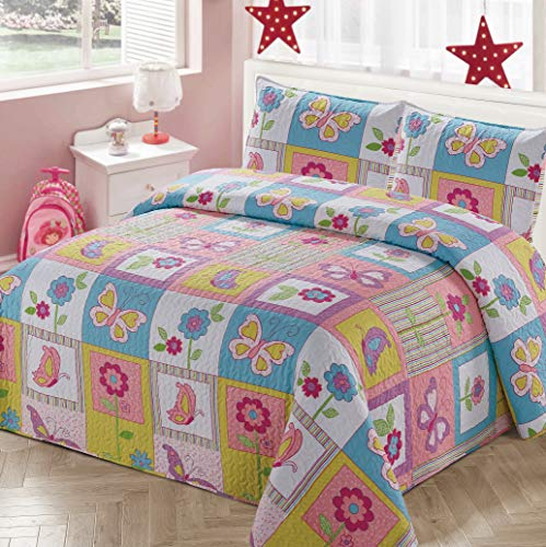 Better Home Style White Pink Blue & Yellow Patchwork Butterflies Floral Butterfly Design Kids/Girls Coverlet Bedspread Quilt Set with Pillowcases with Butterfly and Flower Imagery # 2017240 (Twin)