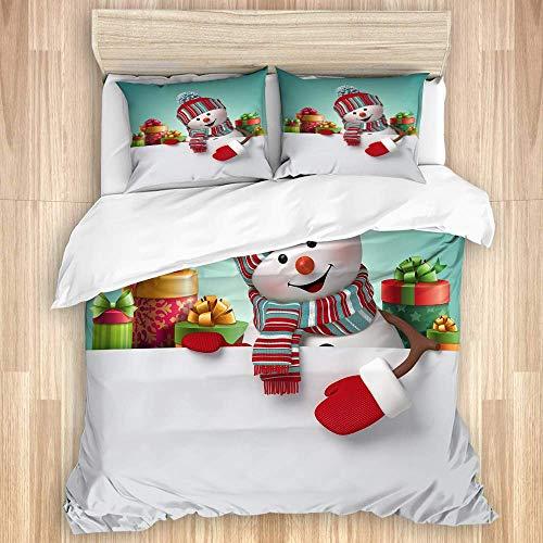 993 CCOVN Bettwäsche Set,glücklicher Schneemann, der Leere Fahne, Stapel Geschenkboxen hält,1 Bettbezug 200x200cm+2 Kopfkissenbezug 50x80cm