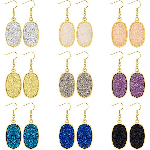 9 Pairs Faux Druzy Drop Earrings Stainless Steel Dangle Earrings Rainbow Crystal Earrings (Rhombic Shape)