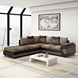 Wellgarden Fabric 4 Seater Sofa L Shaped Corner Sofa Fabric and Leather Upholstered Sofa Settee Left or Right Chaise Couch with Footstool (Brown and black)