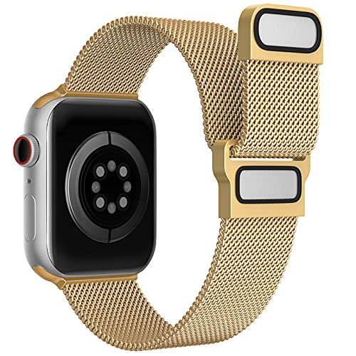 Exclusive Metal Band Compatible with Apple Watch Bands 38mm40mm for Women Men, Magnetic Stainless Steel Mesh Replacement Wristbands for iWatch SeriesSE 6 5 4 3 2 1 - Strap Expert (Gold)
