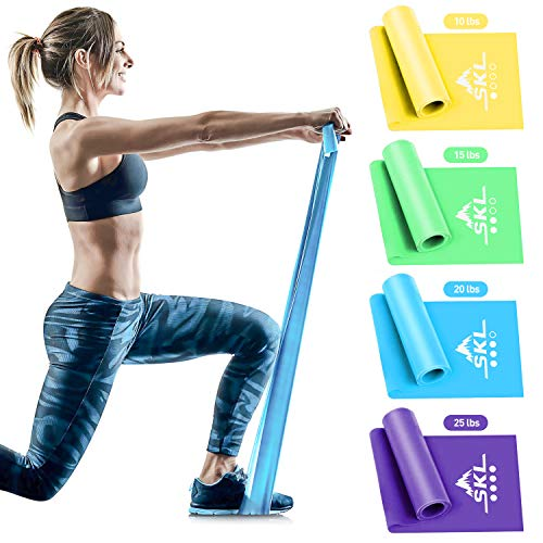 Fitnessbänder Theraband Set Elastikband 4er Set Gymnastikband Resistance Band Widerstandsbänder mit 4-Stärken Trainingsband für Yoga, Pilates, Physiotherapie