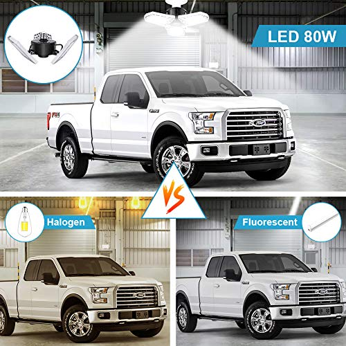 LED Garage Lights 80W Deformable 2 Pack 8000LM Three Leaf Triple Glow Close to Ceiling Light Fixtures E26 E27 Screw in Lighting for Work Shop Warehouse Low Bay New Arrival, No Motion Activated 2