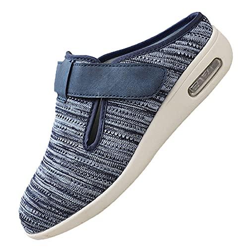Estar por casa Zapatos Diabéticos Respirable ,zapatillas ajustables, cierre de velcro, sandalias, pies anchos abiertos, zapatillas para ancianos,black_48 🔥