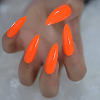 CoolNail Pure Deep Orange Extra Long Sharp Stiletto False Nails Tips 24pcs Press On Stilettos Nails For Fingers Wear 1pc Glue Sticker