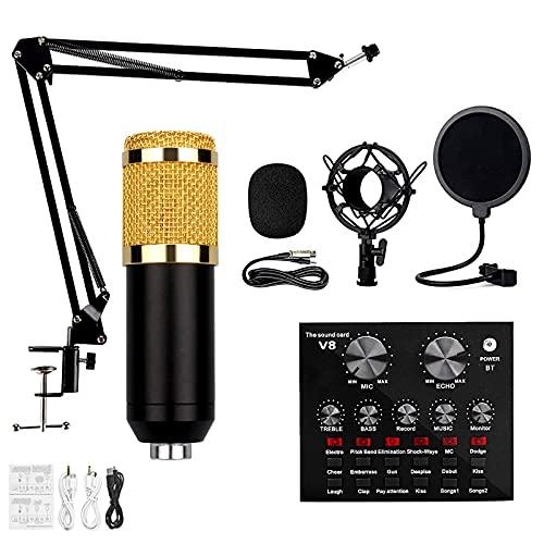 FHISD Kit de micrófono de Condensador, BM-800 Mic Professional Studio Recording Set, Tarjeta de Sonido en Vivo con Efectos y Cambiador de Voz, Mini Tablero Mezclador de Sonido con múltiples Efecto