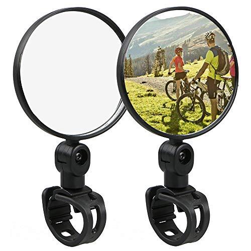 Ziyero 1 Paio Regolabile Girevole Manubrio Specchio Convesso Mini 360 Rotazione Specchietti Bici Antiurto Facile da Installare, per Ciclismo, Mountain Bike, Bicicletta con Cambio Fisso—Nero
