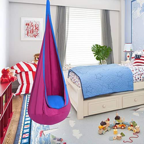 DREAMADE Hängehöhle für Kinder, Hängesessel Kinderhängesitz für innen und draußen, Kinder Hängesack als Fly Schaukel, Kinderhängeplatz Hängeschaukel mit Sitzkissen, max. 80kg belastbar (Rosa) - 6