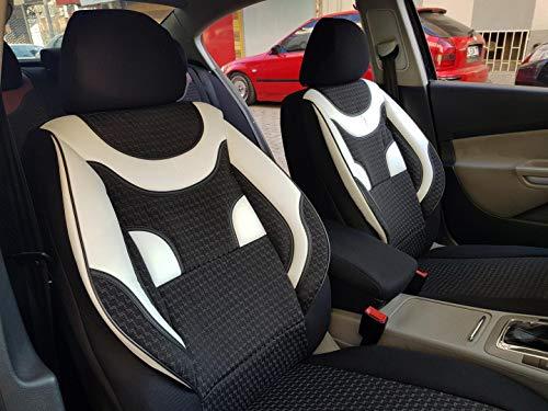 Sitzbezüge k-maniac für Audi A6 C4 Avant | Universal schwarz-Weiss | Autositzbezüge Set Komplett | Autozubehör Innenraum | NO2020357 | Kfz Tuning | Sitzbezug | Sitzschoner