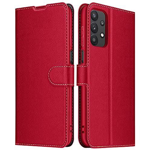 ELESNOW Hülle für Samsung Galaxy A32 5G, Premium Leder Klappbar Wallet Schutzhülle Tasche Handyhülle mit [Magnetisch, Kartenfach, Standfunktion] für Samsung Galaxy A32 5G (Rot)