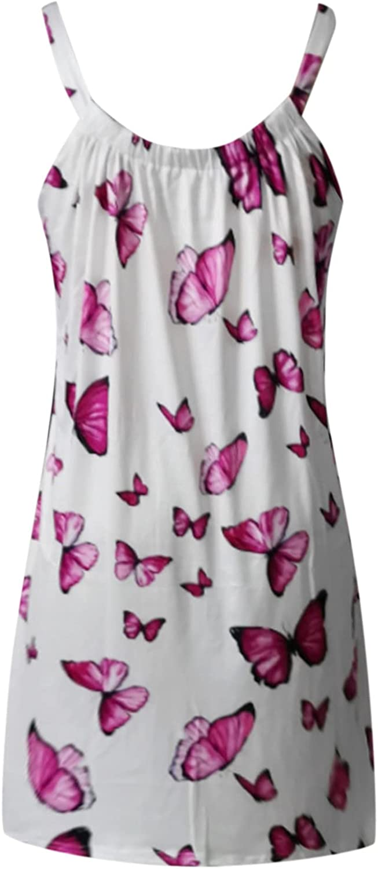 TAYBAGH Beach Dresses for Women Short,Womens Floral Print Sling Swing Casual Summer Dress Folds Sleeveless Midi Sundress