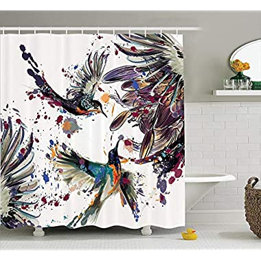 Ambesonne Hummingbirds Decorations Shower Curtain Set, Art with Lily Flowers Birds and Color Splashes in Watercolor Painting Style, Bathroom Accessories, 75 Inches Long, Orange Blue