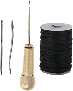 MagiDeal 3 Needles Copper Handle Sewing Awl Hand Stitcher Shoe Repairing Tool With Line Waxed Thread For Leather Tool