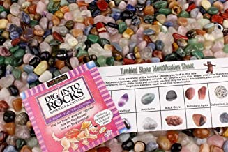 5 Pounds Tumbled Polished Natural Gem Stones + Educational Color ID Sheet & 24 Page Rock & Mineral Book. Average Stone Size ¾ inch. Choose 1, 2, 5, 11 or 22 Pounds. Dancing Bear Brand