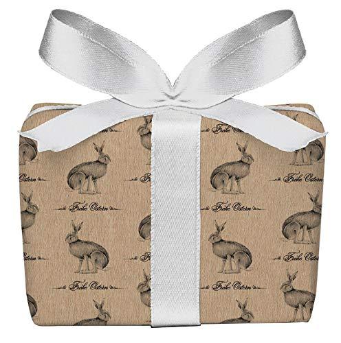 5er Set 5 Bögen Geschenkpapier mit Feldhase, Osterhase im Kraftpapier Look zu Ostern für ihre Ostergeschenke, gedruckt auf PEFC zertifiziertem Papier, 50 x 70 cm