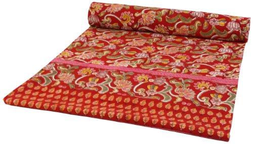 Guru-Shop Blockdruck Tagesdecke, Bett und Sofaüberwurf, Handgearbeiteter Wandbehang, Wandtuch Rot, Mehrfarbig - Design 16, Baumwolle, Größe: Double 225x275 cm, Bettüberwurf, Sofa Überwurf