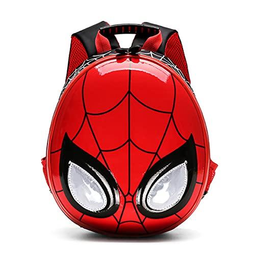 Hflyy Niños Niñas Mochilas Escolares Mochilas Niños Mochilas Spiderman Niños Kit De Almuerzo De Cáscara Dura Mochila Impermeable Mochilas Casuales De Moda Bolso De Viaje Bolsos,Red-20 * 10 * 31cm