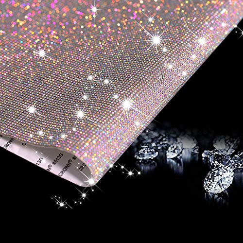 Whaline 12000Pcs Bling Crystal Rhinestones Sticker Sheet Leopard Print Rhinestones Crystal Gem Stickers Self-Adhesive DIY Car Decoration Stickers Iron on Hot Transfer for Phone Gift Crafts 2mm