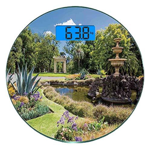 Digitale Präzisionswaage für das Körpergewicht Runde Land Dekor Ultra dünne ausgeglichenes Glas-Badezimmerwaage-genaue Gewichts-Maße,Fitzroy Gardens-Sommertagesansicht-Brunnen-historische ikonenhafte