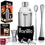 Elite Cocktail Shaker Set Bartender Kit by BARILLIO: 24 oz Stainless Steel Martini Mixer, Muddler,...