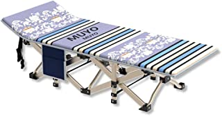 Lightweight Bed Folding Aluminum Camping Beds Travel Outdoor Camping Single Camp Portable Home Office Outdoor Rest Rollaway Bed - Travel and Family Spare Bed (Color : Blue, Size : 1867135cm)