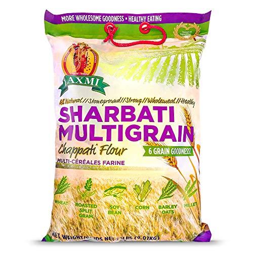 Laxmi Brand Multigrain Chappati Flour, 6 Grain Goodness, Wheat, Split Gram, Soy Bean, Corn, Barley Oats, Millet Flour, All Flours Included, Product of India (20lb)
