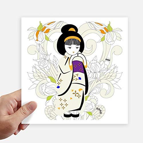 DIYthinker Japan Kimono Meisje Patroon Vierkante Stickers 20Cm Wandkoffer Laptop Motobike Decal 4 Stks